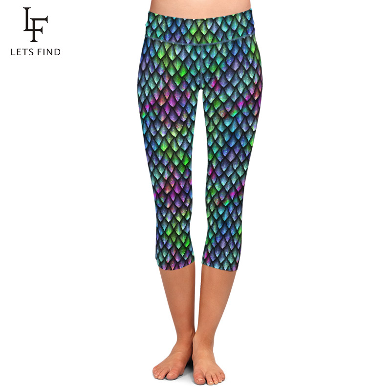 LETSFIND Seamless 3D Fish Scales Print Capri Pants Fashion Sexy High Waist Elastic Milk Silk Plus Size Women Mid-Calf Leggings