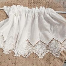JUYANG. Хлопчатобумажные вышитые шторы для шкафа. Чисто белые короткие шторы. Декоративные занавески, кофейные занавески