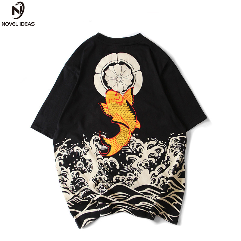 Novel ideas Japanese Style Men   T     Shirt   Print Wave Carp Fish Tops Tees fashion Hip-hop printing Full back carp summer   T  -  shirt