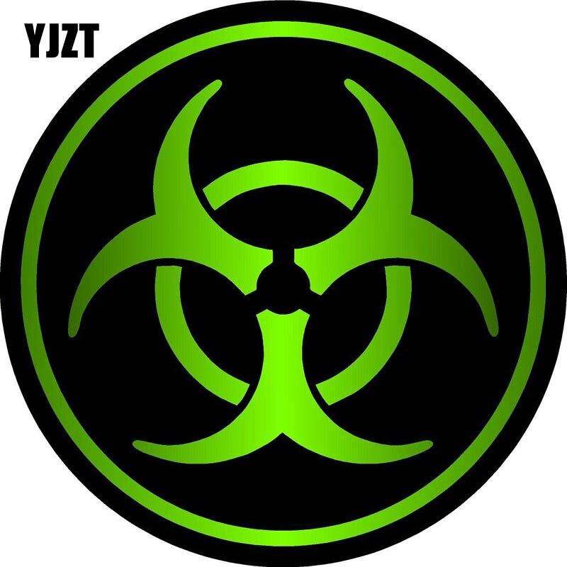 YJZT 8x8cm ZOMBIE Bio Hazard Decal Retro-reflective Car Stickers Bike Motorcycle Car-styling C1-8079