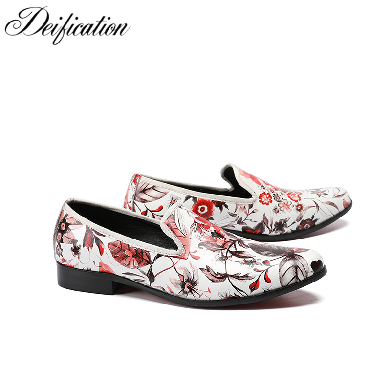 Deification Flowers Printed Mens Shoes Moccasins Slip On Leather Men Casual Shoes Loafers Elegant Party Dress Shoes Plus Size 47 цена 2017