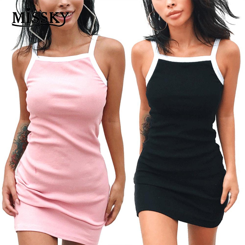 MISSKY Solid-colour Slim Dress Sexy Sleeveless Braces Gift Sexy Beach Party Outfits