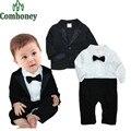 Bebê meninos Blazer conjunto de 2 PCS cavalheiro gravata borboleta Romper + Blazer para recém-nascido infantil macacão Romper bebê terno do casamento crianças roupa