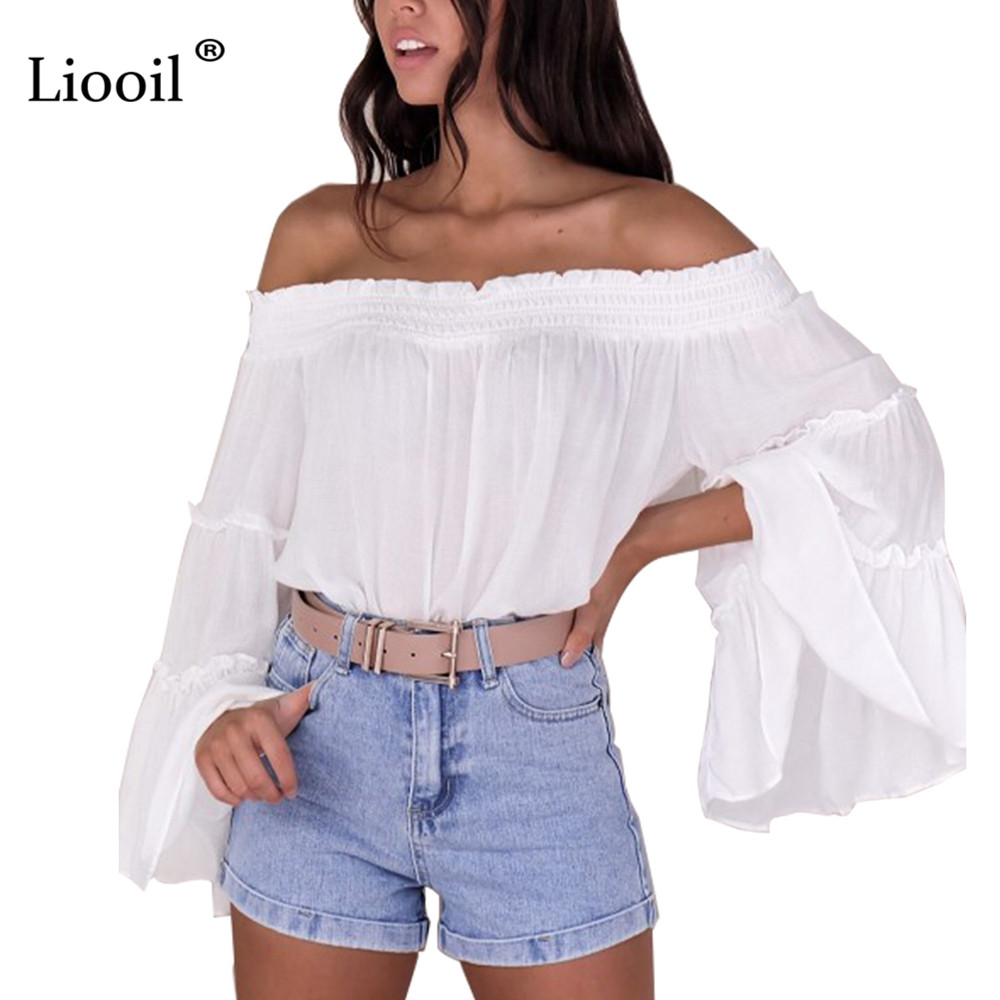 Szkzk White Solid Flared Sleeve T-shirt Women 2018 New Off Shoulder Slash Neck Female T-Shirt Casual Stretch Loose Long Tops