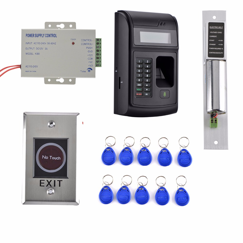 10 Key CARD + 1000 Users LCD Fingerprint 125KHz RFID ID Card Reader Door Lock Fingerprint Access Control System+Door Lock weigand reader door access control without software 125khz rfid card metal access control reader with 180 280kg magnetic lock