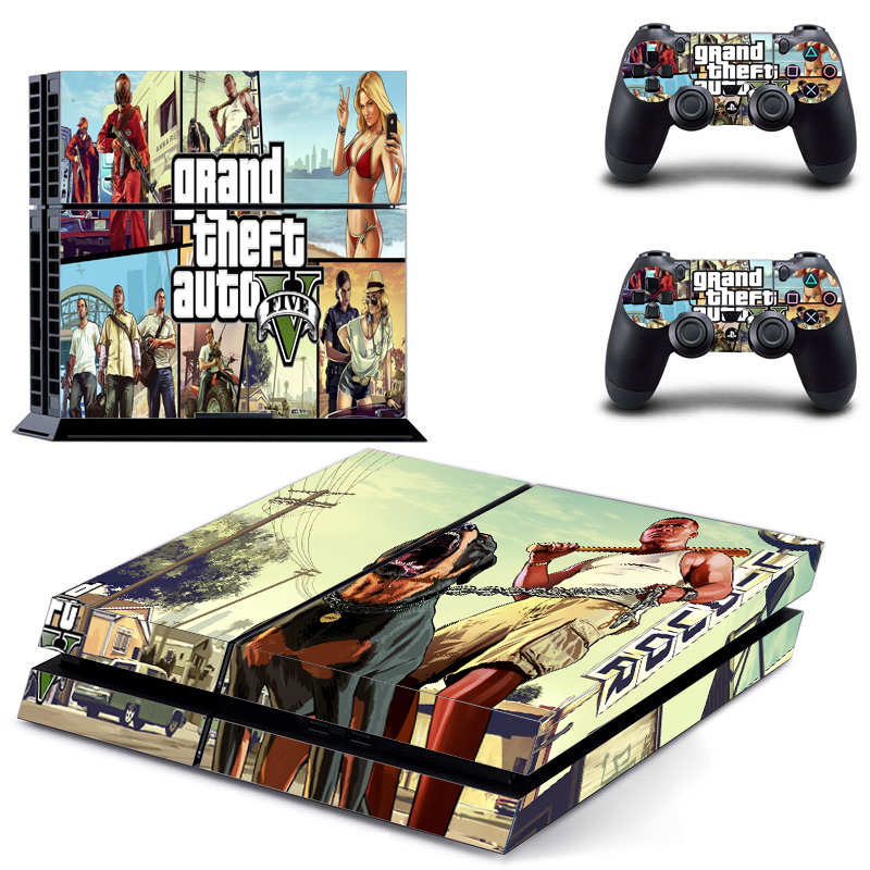 grand theft auto 5 gta 5 for ps4 console vinyl skin sticker controle for playstation cover skin. Black Bedroom Furniture Sets. Home Design Ideas