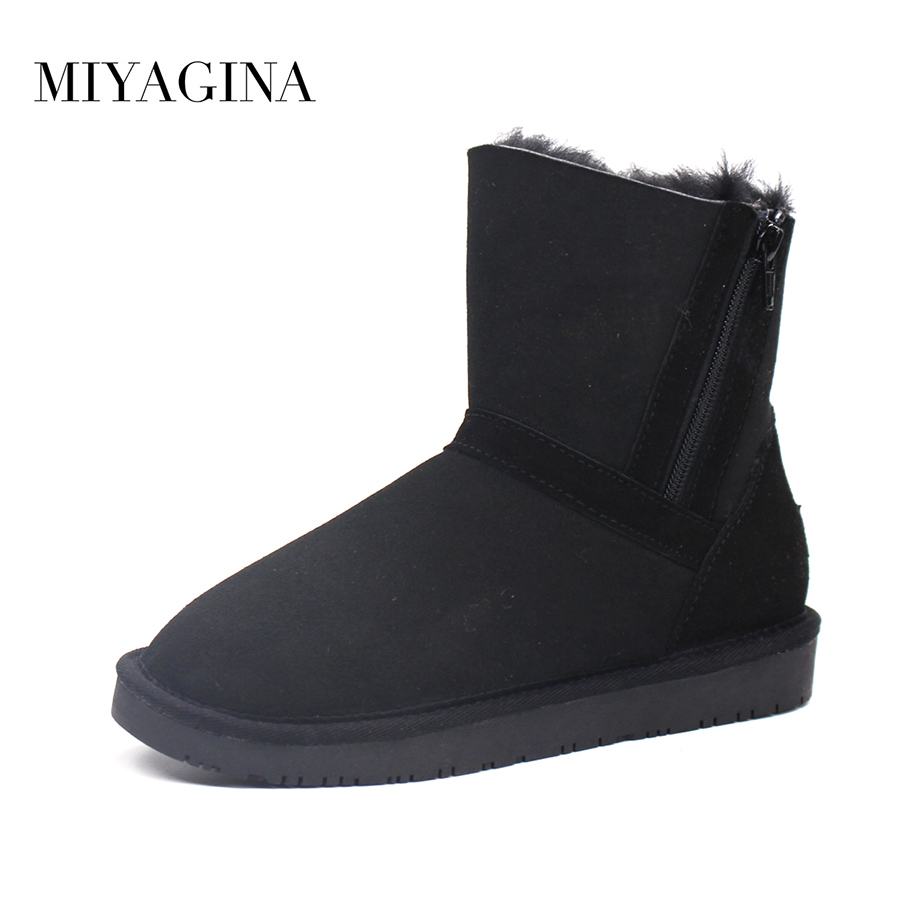 Top Quality New Fashion 100% Genuine Sheepskin Leather Snow Boots Natural Fur Mujer Botas Real Wool Ankle Shoes For Women sexemara brand 2016 new collection winter boots for women snow boots genuine leather ankle boots top quality plush botas mujer