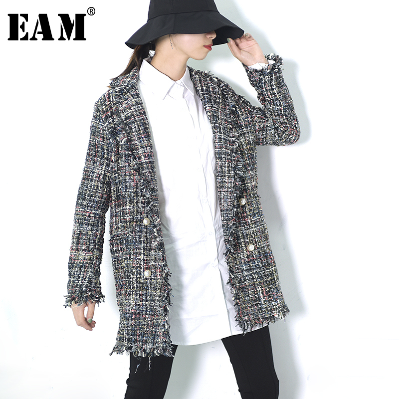 [EAM]Winter Loose   Trench   Coat Female Spring 2019 Casual Fashion Nailed Button Turn-down Collar Outwear Windbreaker Outwear KA2