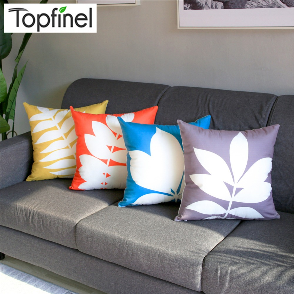 Chair Throw Covers Topfinel Colorful Elegant Plant Leaves Home Decorative Throw Pillowcases Cushion Covers For Home Sofa Seat Chair Bed Car 45x45cm In Cushion Cover From