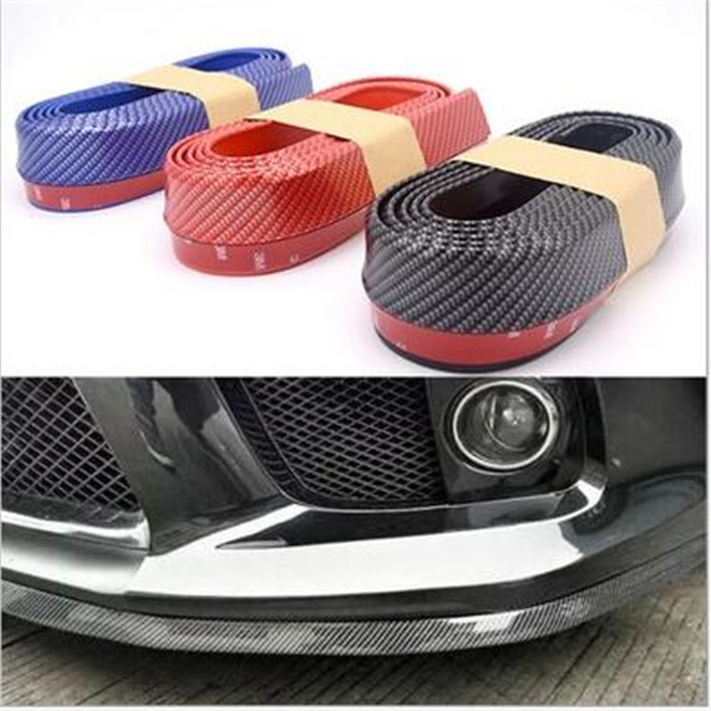 DE SOUL Black Red Blue Soft Carbon Fiber Car Rubber Bumper Strip Outside Bumper Front Lip