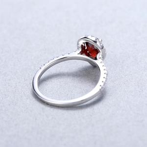 Image 4 - Gems Ballet 925 Sterling Silver Halo Ring 1.36Ct Natural Red Garnet Wedding Engagement Rings For Women Fine Jewelry