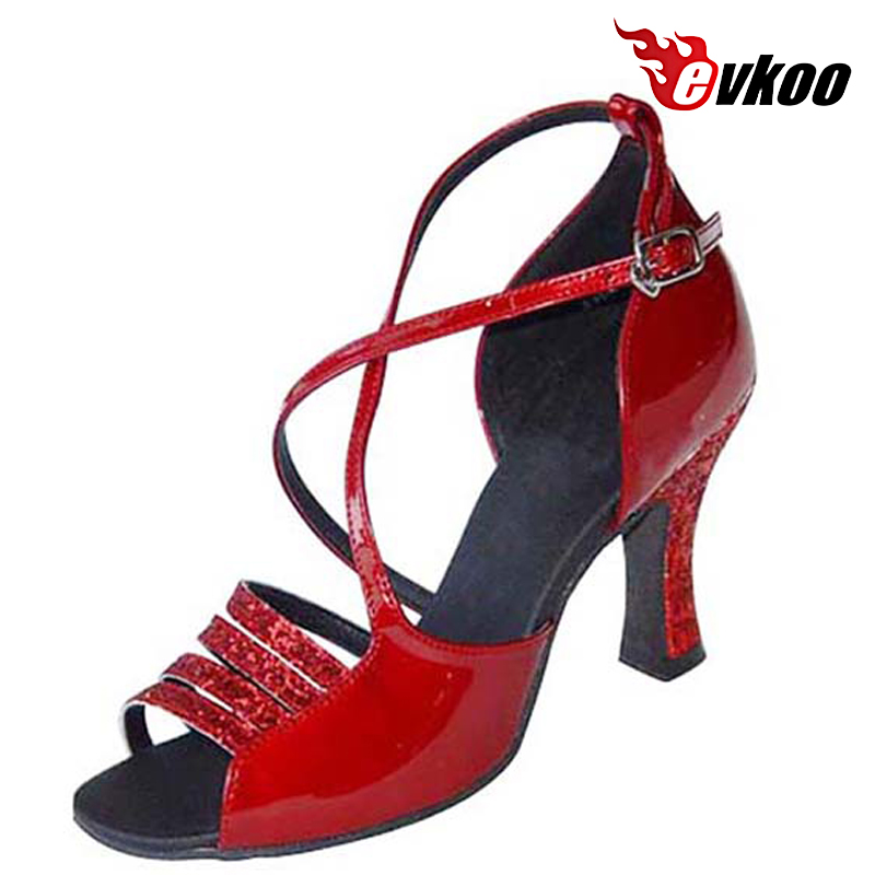 Evkoodance Red Black Patent Woman Latin Salsa Dance Shoes Size US 4-12 Leather Sole 7cm Heel Height Evkoo-143 запонки серебро россии 2011 52484