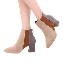 YOUYEDIAN Women Mixed Color Martin Boots Pointed Toe Suede High Heel Shoes Zipper Boot scarpe donna elegante#L4(China)