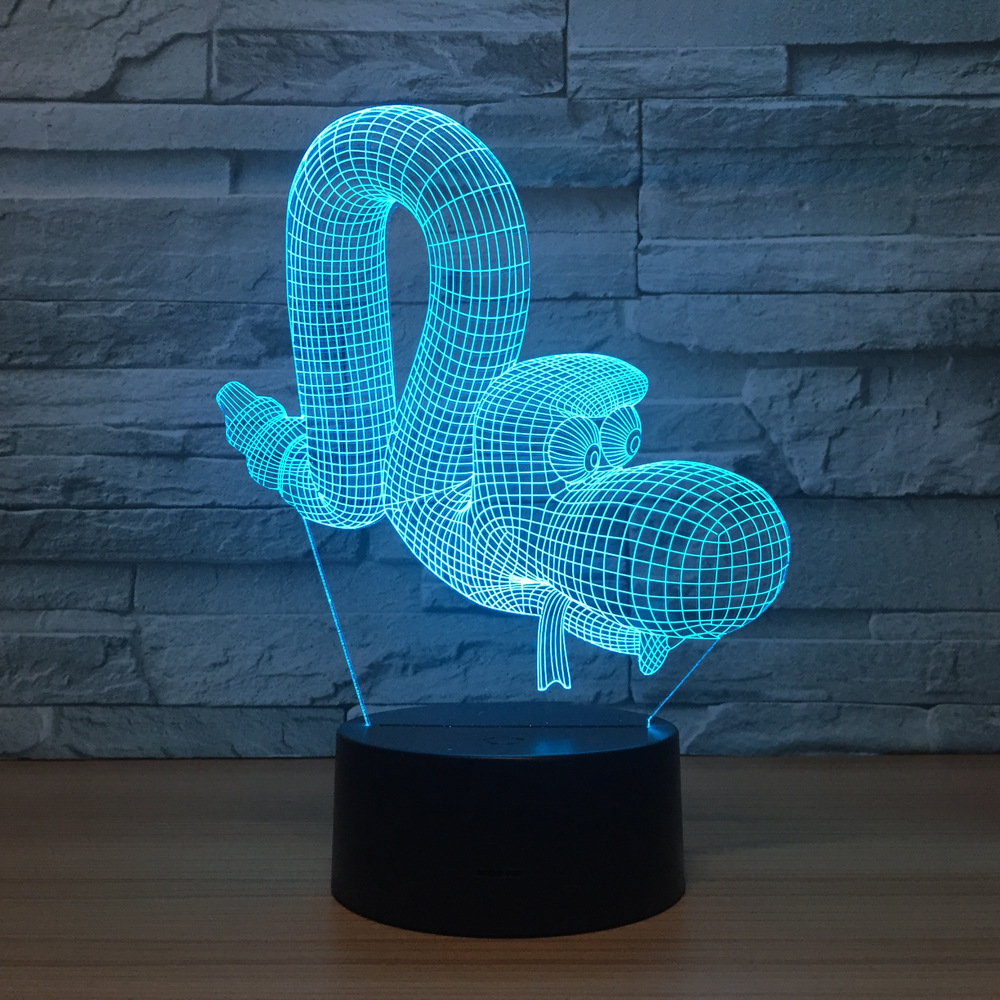 For Lampara Kids 3D Lamp 94 Snake Visual Gift in 3d Night Kids Animal Lights Touch Baby Nightlight US11 Lampe LED Table 40OFF Sleeping Remote Usb 80kPnXwO