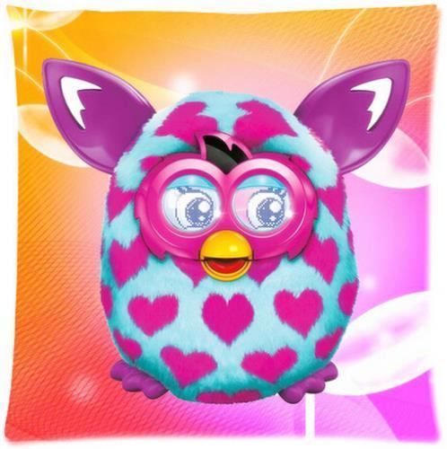 Custom Cartoon Love Furby Fashion Style Glossy Zipper Soft Modernative Single Pillow Case Standard Size 18''x18''(Twin Sides)