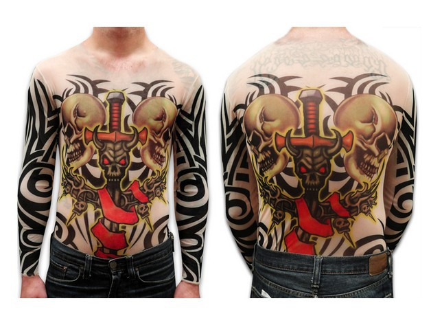 Unisex Demon Sword and Skulls Full Body Tattoo Shirt Long Sleeves For Men Free Shipping 2017 New Fashion Summer