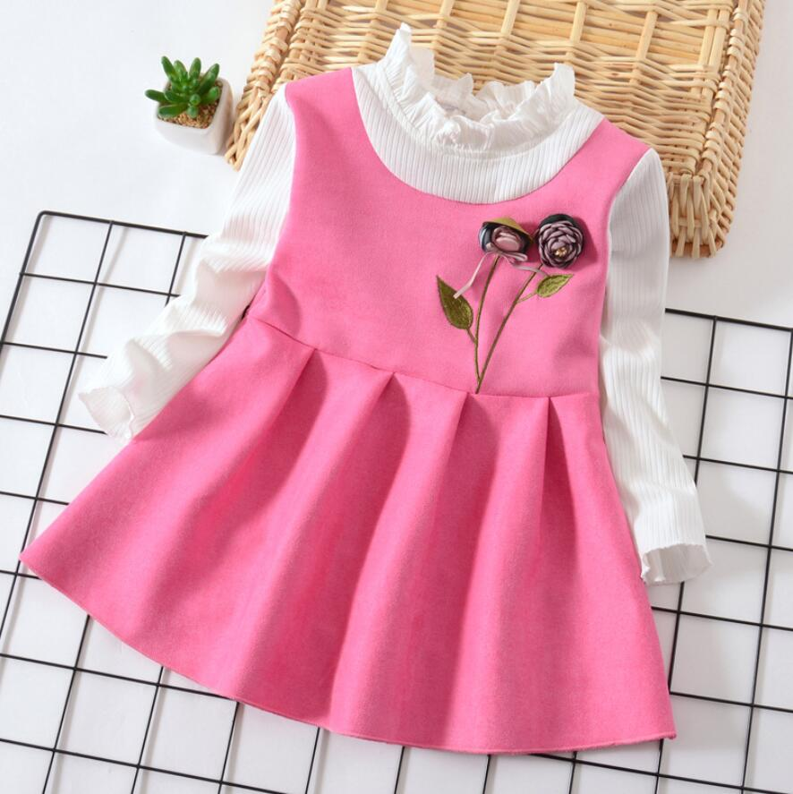 c9990ccbed283 2018 spring autumn baby girls dress kids clothes Formal wear ruffles dress  new infant toddler party birthday frock&clothing