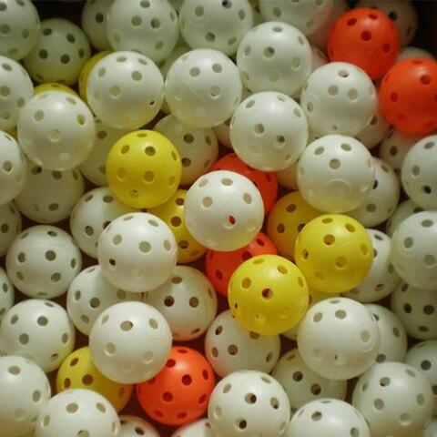 Bola de Golfe de Plástico Golfista ao ar Oco para Novato Atacado Lote 42mm 26 Furos Prática Livre Indoor Golf Training Aids 50 Pçs –