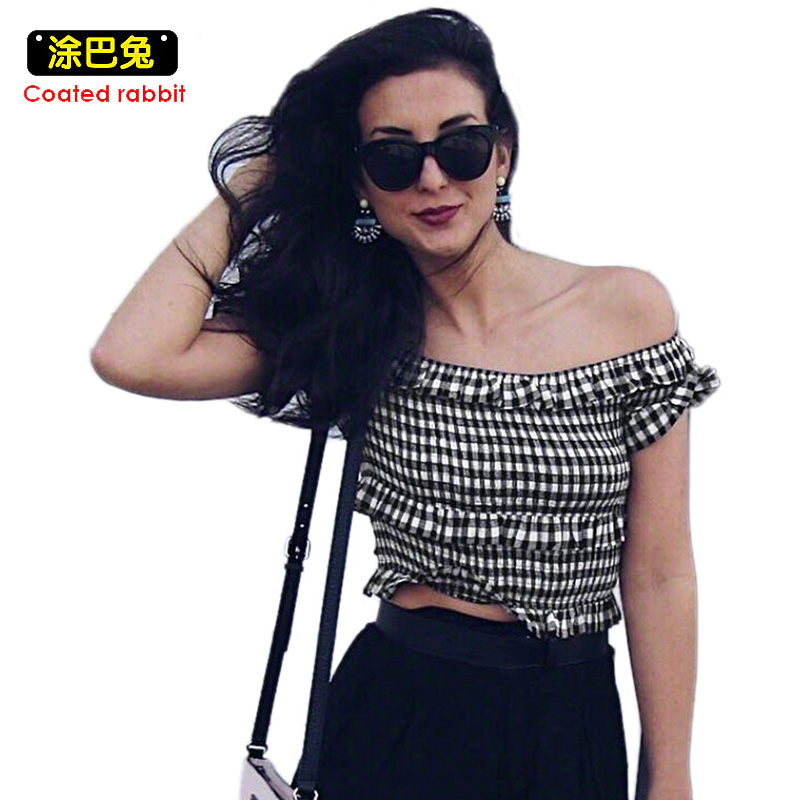 CR 2018 New Off Shoulder T Shirt Women Summer Slash neck Plaid Ruffle Crop Tops Sexy Female T-Shirt Streetwear