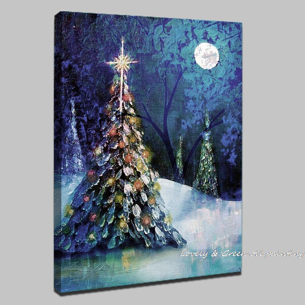 Aliexpress.com : Buy Handpainted Christmas Tree Modern Oil ...