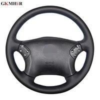 GKMHiR DIY Black Steering Wheel Cover Genuine Leather Car Steering Wheel Cover for Mercedes Benz W203 C Class 2001 2007