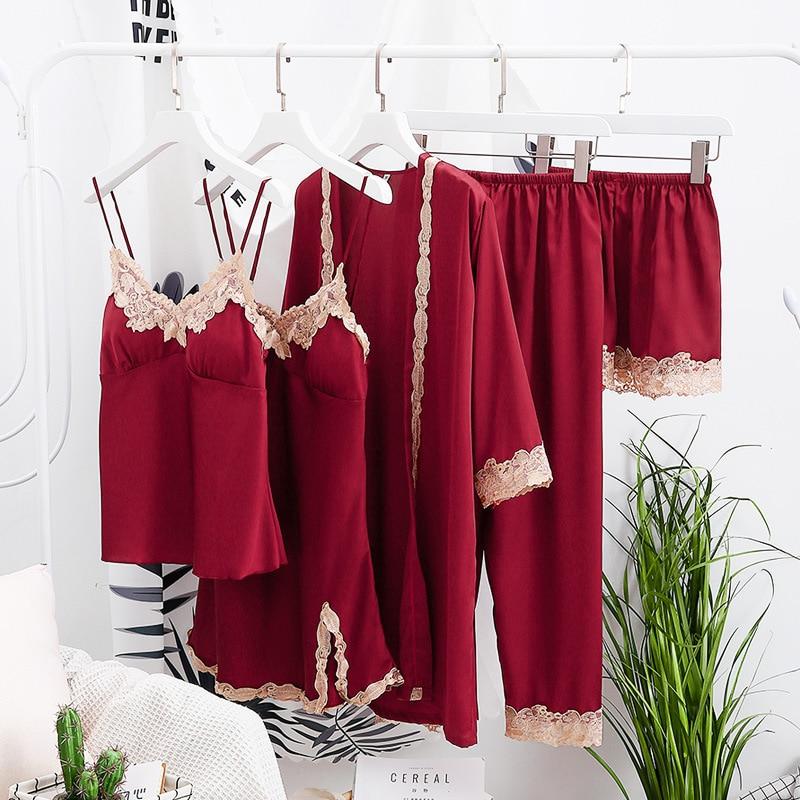 2019 Original PKSAQ 5 pieces women's pajamas summer sexy pajamas set silk satin underwear casual homewear pajamas set sleepwear