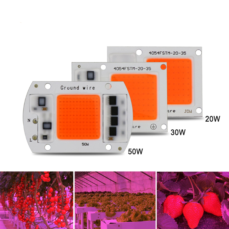 1pcs Hydroponice AC 220V 20w 30w 50w led grow chip full spectrum 380nm-840nm for indoor led grow light