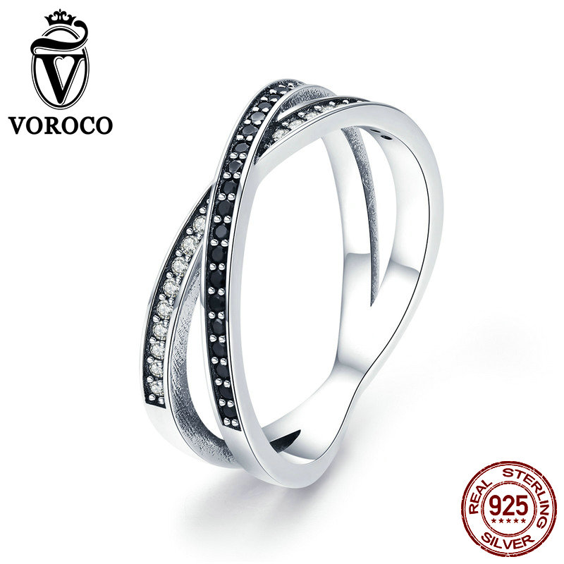 VOROCO Authentic 925 Sterling Silver Bridal Black Round Finger Rings For Women Sparking Crystal Wedding Fine Jewelry Gift BKR439