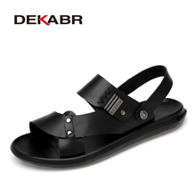 DEKABR 2021 New Arrival Fashion Summer Genuine Leather Beach Men Shoes High Quality Leather Flip Flop Mens Sandals Size 38 45