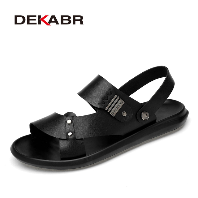 DEKABR 2021 New Arrival Fashion Summer Genuine Leather Beach Men Shoes High Quality Leather Flip Flop Mens Sandals Size 38 45