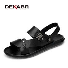 DEKABR 2021 جديد وصول موضة الصيف جلد طبيعي الشاطئ حذاء رجالي جودة عالية جلد الوجه بالتخبط الرجال الصنادل حجم 38 45