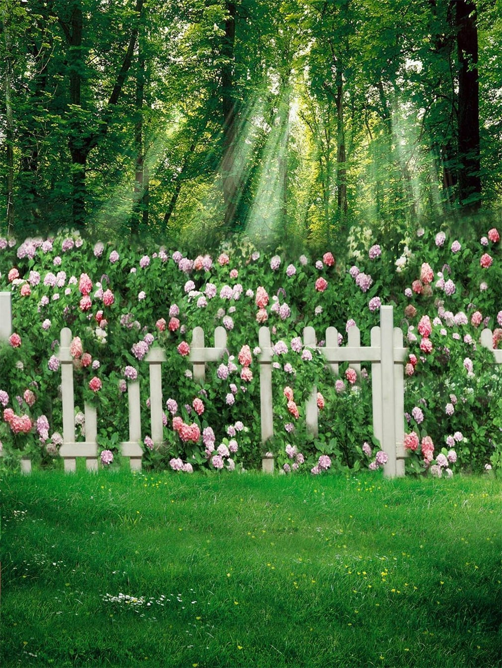 Garden Scenic Photography Backdrop Green Grass Floor Forest Trees White Fence Pink Flowers Kids Children Spring Photo Background louis garden artificial flowers fake rose in picket fence pot pack small potted plant