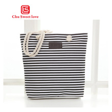Handmade canvas bag fashion color striped print shopping bag ladies shoulder bag thick rope handbag casual zipper bag local focal handmade classic striped hand bag