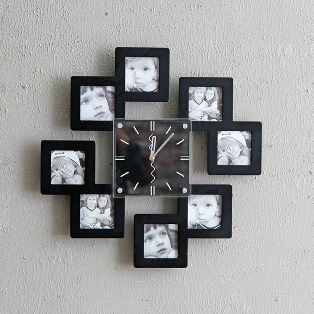Wood Photo Frame Wall Black White Watch Sets Photo Wall Combination ...