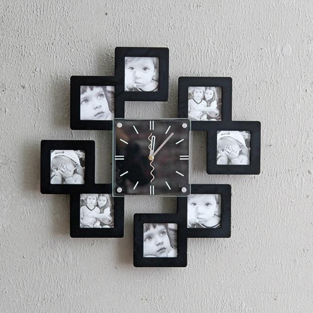Wood Photo Frame Wall Black White Watch Sets Photo Wall Combination Photo Frame  DIY Creative Wall