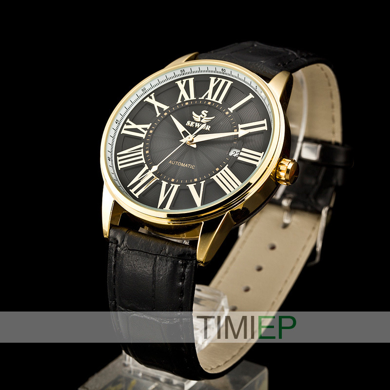 SEWOR New Mens Women Gold Skeleton Transparent self wind automatic watch Men