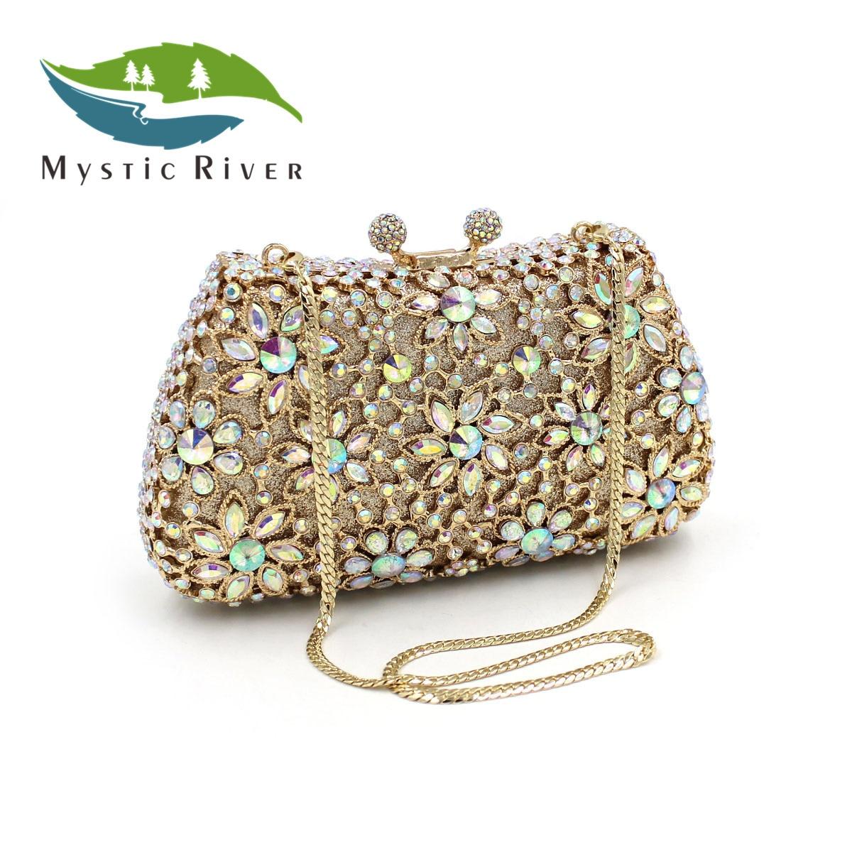 Mystic River Mujeres Flor de Cristal de Lujo Bolsos de Noche Bolsos de Las Señor