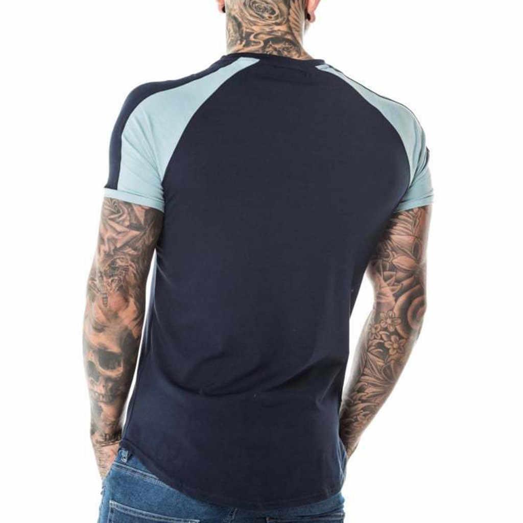 Camisetas de marca para hombre de moda de verano para hombre Slim Fit Patchwork de manga corta camiseta Top blusa camisa masculina gota