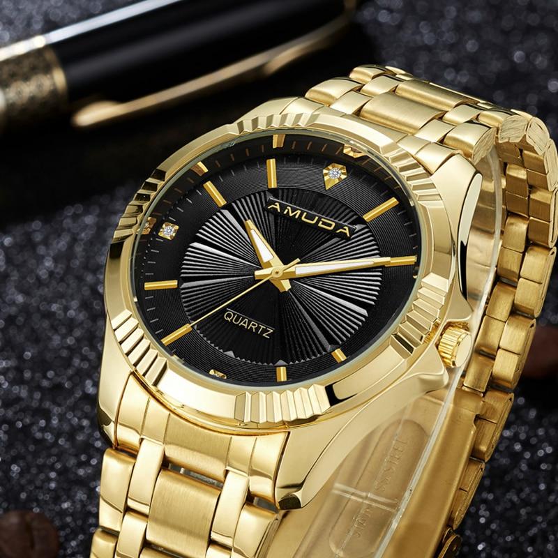 AMUDA Gold Men Clock Fashion Brand Luxury Business Watch Full Steel Quartz-Watch Man Wrist Watch Golden Watch Men amuda top quality clock gold fashion men watch full gold stainless steel quartz watches wrist watch gold business watch