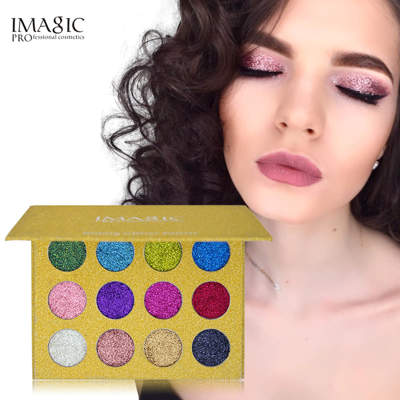 IMAGIC 12 Warna Suntikan Glitter Ditekan Glitters Eyeshadow Tunggal Berlian Rainbow Make Up Kosmetik Eye shadow Magnet Palette
