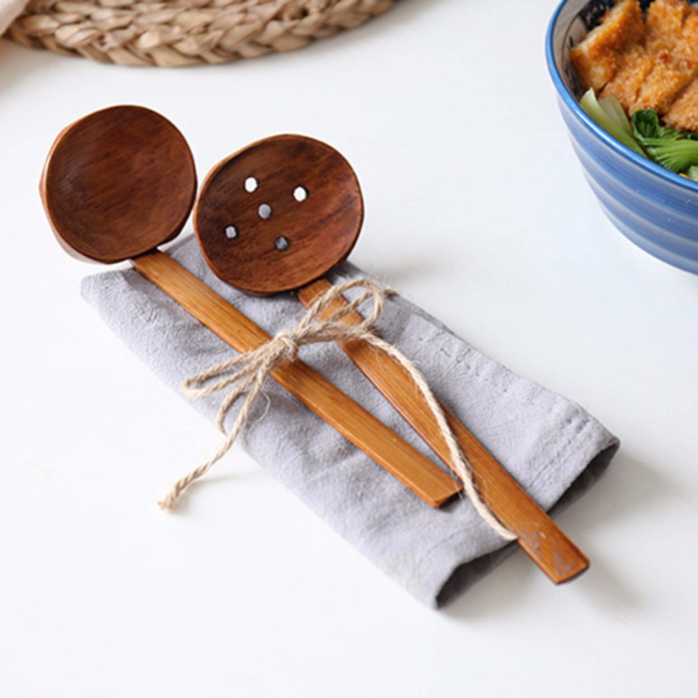 2PCS Japanese Nature Bamboo Hand-Pulled Noodle Spoon Soup Ladles (Colander and spoon)