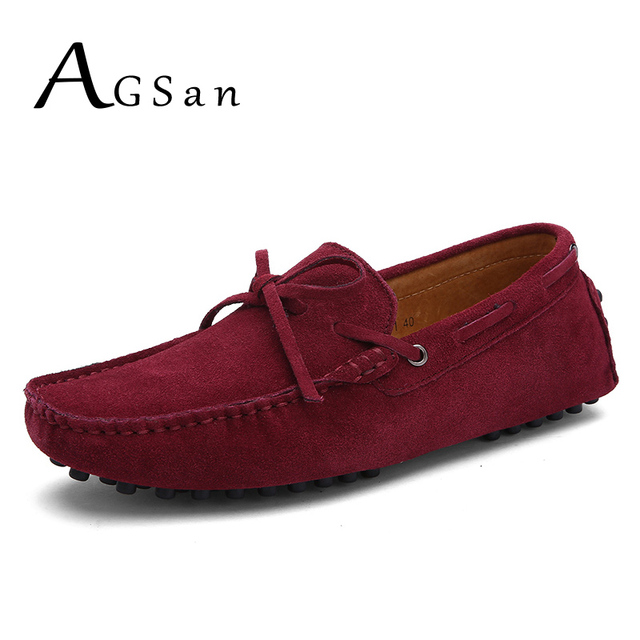 AGSan Genuine Leather Men Loafers Moccasins Designer Italian Shoes Men Plus Size Driving Shoes Classic Boat Shoes 38-49 Burgundy