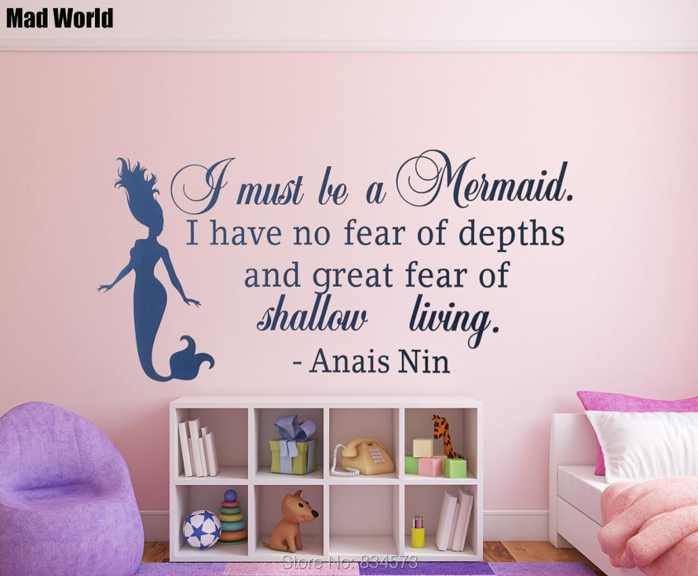 Mad World I Must Be A Mermaid Quote Wall Art Stickers Wall