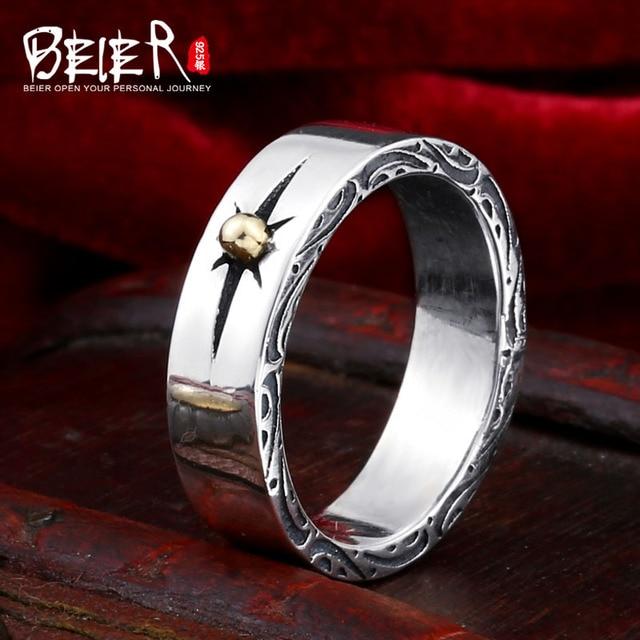 Beier 100% 925 bạc sterling nhẫn đơn giản vòng nắng nhẫn cho phụ nữ/đàn ông cao đánh bóng Thời Trang Đồ Trang Sức BR-SR013
