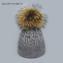Winter fur pompom hat Skullies for women cashmere wool cotton hat Big Real Raccoon fur pompom Beanies cap Fox fur bobble hat