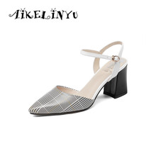 AIKELINYU 2019 Elegant Lady Pumps Fashionable Sexy Sharp End Checked Women Sandals Summer Genuine Leather Office