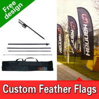 Free Shipping Double Sided In ground Spike Feather Banners Flag Signs Advertising Feather Flag Feather Signs