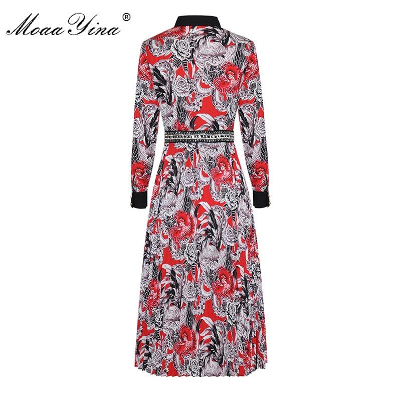 MoaaYina الأزياء مصمم المدرج اللباس الربيع الخريف المرأة كم طويل بدوره إلى أسفل طوق زر من اللؤلؤ خمر الأزهار طباعة اللباس-في فساتين من ملابس نسائية على  مجموعة 2