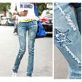 New Spring Autumn Women'S Star Patchwork Pencil Pants Women Jeans Denim Pants Hole Fashion Skinny Jeans Women Trousers