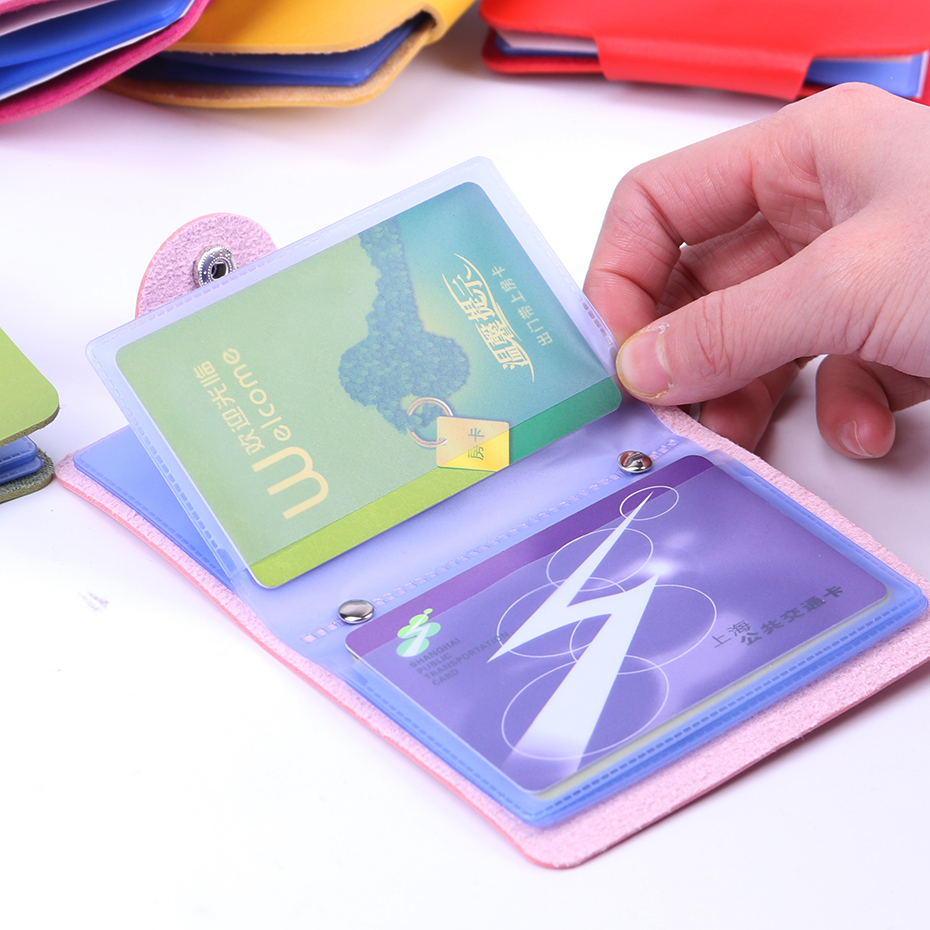 12 Card Slots Candy Color Double Sided Plastic Holder Wallet Small Size Multicolor Business Pack Bus 7 Bag